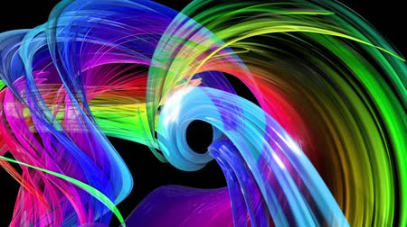 abstract background of transparent beautiful ribbons moving in circle, twisted lines, looped 3d animation with rainbow gradient colors transitions in glass ribbon. Close up 13 Stok Video
