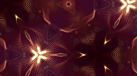 oscilante : complex composition with luminous particles that form wavy structures like in a kaleidoscope. 4k 3d looped smooth animation. sci-fi microworld, mandala or ornamental neon abstract background 23