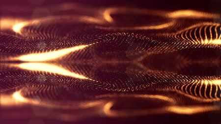 wellenform : beautiful composition with luminous gold particles form wavy glow structures like in sci-fi or microworld or nano technology. 4k 3d looped smooth animation abstract background 1