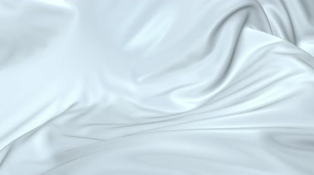 záhyby : White silky fabric forms beautiful folds in the air in slow motion. 4k 3D animation of wavy surface forms ripples like in fluid surface and the folds like in tissue. Animated texture V19 Dostupné videozáznamy