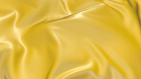 dobras : 4k 3D animation of wavy yellow cloth surface that forms ripples like in fluid surface or the folds in tissue. Yellow silky fabric forms beautiful folds in the air in slow motion. Animated texture. 7
