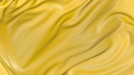 atlaszfényû : 4k 3D animation of wavy yellow cloth surface that forms ripples like in fluid surface or the folds in tissue. Yellow silky fabric forms beautiful folds in the air in slow motion. Animated texture. 13 Stock mozgókép