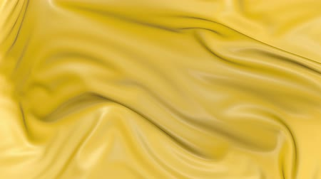 gordijn : 4k 3D animation of wavy yellow cloth surface that forms ripples like in fluid surface or the folds in tissue. Yellow silky fabric forms beautiful folds in the air in slow motion. Animated texture. 14