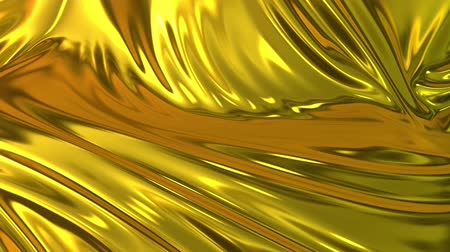 crumpled : Gold silky fabric forms beautiful folds in the air in slow motion. 4k 3D animation of wavy surface forms ripples like in fluid surface and the folds like in tissue. Animated texture. Stock Footage