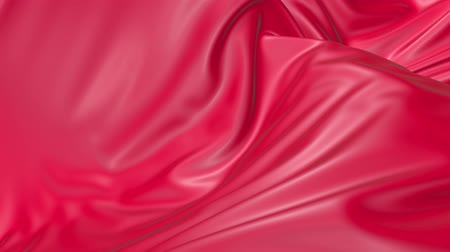 折り目 : 4k 3D soft animation of wavy red cloth surface that forms ripples like in fluid surface or the folds in tissue. Red silky fabric forms beautiful folds in the air in slow motion. Animated texture. 15 動画素材