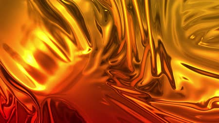 brocade : Animated metalic gradient in 4k. 3D render of wavy cloth surface that forms ripples like in liquid metal surface or folds in tissue. Red yellow gradient of foil forms folds in slow motion. 16