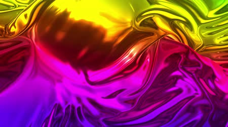 brocade : Animated rainbow metallic gradient in 4k. Abstract 3D of wavy cloth surface that forms ripples like in liquid metal surface or folds in tissue. Rainbow gradient of foil forms folds in slow motion. 17 Stock Footage