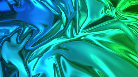 deformação : Animated blue green metalic gradient in 4k. 3D render of wavy cloth surface that forms ripples like in liquid metal surface or folds in tissue. Abstract foil forms folds in slow motion. 10