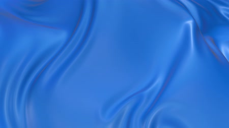 atlaszfényû : 4k 3D animation of wavy blue cloth surface that forms ripples like in fluid surface or the folds like in tissue. Blue silky fabric forms beautiful folds in the air in slow motion. Animated texture. 34
