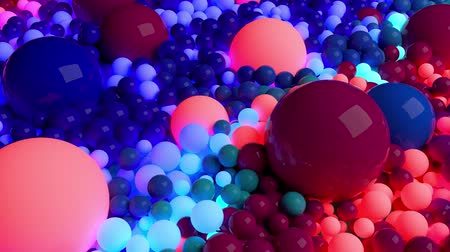 paint ball : dark composition with colorful balls that cover the surface, some of which glow. 3d in 4k abstract background with flowing animation of spheres Vidéos Libres De Droits