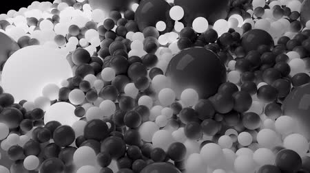 nagy felbontású : 4k 3D seamless loop animation of beautiful gray and white small and large spheres or balls cover plane as abstract geometric background. Some spheres glow. 5