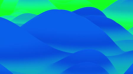 esplêndido : 4k seamless loop with abstract fluid blue green gradients, inner glow wavy surface. Beautiful cold color gradients as abstract liquid background, smooth animation. 3d in flat pleasant modern style