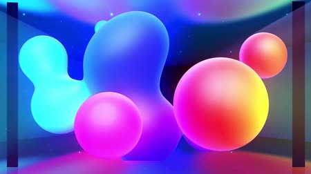 в помещении : Spheres merge like liquid drops or metaballs move in-air smoothly, like underwater. Abstract liquid gradient of colors on beautiful 3d spherical forms, multi-colored glow, scattering light inside. 1