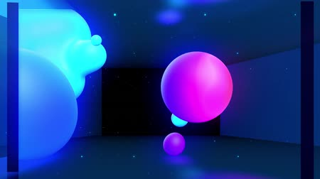 esplêndido : Spheres merge like liquid drops or metaballs move in-air smoothly, like underwater. Abstract liquid gradient of colors on beautiful 3d spherical forms, multi-colored glow, scattering light inside. 3 Stock Footage