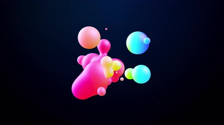 paint ball : abstract 3d background with beautiful colorful gradient on metaball, spheres circulate in air with inner glow, merge like drops of water. Abstract bubbles in liquid with glow gradient colors Vidéos Libres De Droits