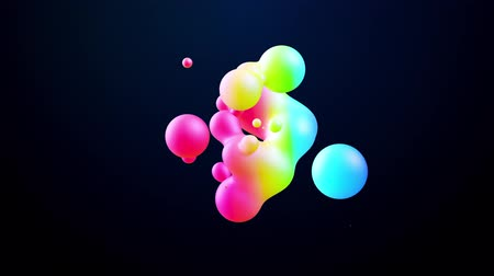 morph : abstract 3d background with beautiful colorful gradient on metaball, spheres circulate in air with inner glow, merge like drops of water. Abstract bubbles in liquid with glow gradient colors Stock Footage