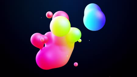 глянцевый : abstract 3d background with beautiful colorful gradient on metaball, spheres circulate in air with inner glow, merge like drops of water. Abstract bubbles in liquid with glow gradient colors Стоковые видеозаписи