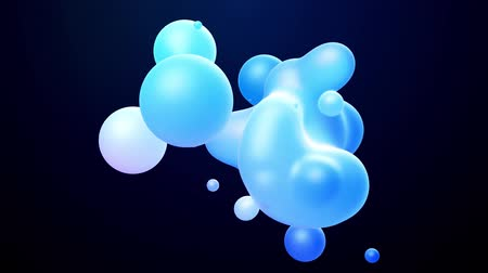 opaque : 3d abstract background, droplets of molten wax with internal blue glow merge and fly apart in liquid. Seamless loop in 4k. Smooth animation of bubbles, metaball with inner glow. 2