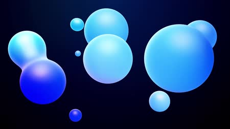 mercúrio : 3d abstract background, droplets of molten wax with internal blue glow merge and fly apart in liquid. Seamless loop in 4k. Smooth animation of bubbles, metaball with inner glow. 83