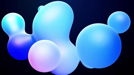 opaque : 3d abstract background, droplets of molten wax with internal blue glow merge and fly apart in liquid. Seamless loop in 4k. Smooth animation of bubbles, metaball with inner glow. 89