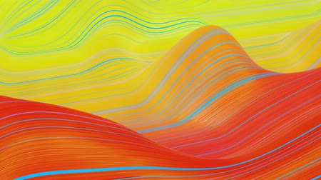 dobras : Beautiful abstract background of waves on surface, red yellow color gradients, extruded lines as striped fabric surface with folds or waves on liquid. 4k loop. Glow lines. 21