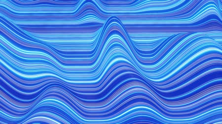 desigual : Beautiful abstract background of waves on surface, color gradients, extruded lines as striped fabric surface with folds or waves on liquid. 4k loop. Glow lines. Blue 3