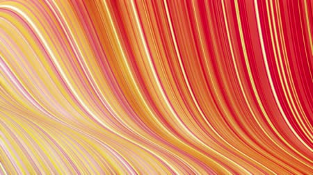 deformação : Beautiful abstract background of waves on surface, red yellow color gradients, extruded lines as striped fabric surface with folds or waves on liquid. 4k loop. Glow lines 2 Stock Footage