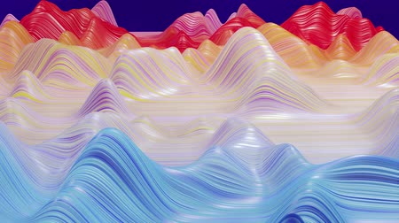 dobras : Beautiful abstract background of waves on surface, rainbow color gradients, extruded lines as striped fabric surface with folds or waves on liquid. 4k loop. Vídeos