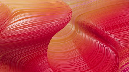 dobras : Beautiful abstract background of waves on surface, red yellow color gradients, extruded lines as striped fabric surface with folds or waves on liquid. 4k loop. 25 Vídeos