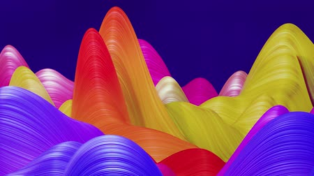 deformação : Beautiful abstract background of waves on surface, color gradients, extruded lines as striped fabric surface with folds or waves on liquid. 4k loop. Rainbow colores 1