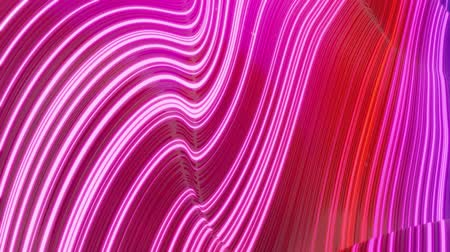 dobras : Beautiful abstract background of waves on surface, blue red color gradients, extruded lines as striped fabric surface with folds or waves on liquid. 4k loop. Glow lines. 3
