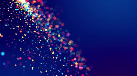 малая глубина резкости : glitter magic multicolor particles fly and glow in viscous liquid with amazing shining bokeh for fantastic festive background in 4k. Close-up shot with luma matte as alpha channel. 3d render