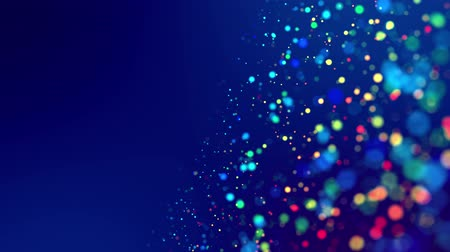 particle system : fantastic festive abstract background of glitter magic multicolor particles fly or float in viscous liquid and glow, amazing shining bokeh in 4k. Luma matte as alpha channel. 4 Stock Footage