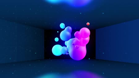 morph : Spheres merge like liquid drops or metaballs move in-air smoothly, like underwater. Abstract liquid gradient of colors on beautiful 3d spherical forms, multi-colored glow, scattering light inside. 31