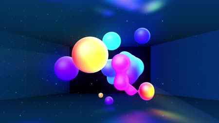 morph : Spheres merge like liquid drops or metaballs move in-air smoothly, like underwater. Abstract liquid gradient of colors on beautiful 3d spherical forms, multi-colored glow, scattering light inside. 37