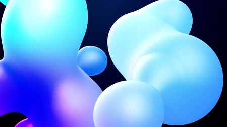 opaque : 3d abstract background, droplets of molten wax with internal blue glow merge and fly apart in liquid. Seamless loop in 4k. Smooth animation of bubbles, metaball with inner glow. 63