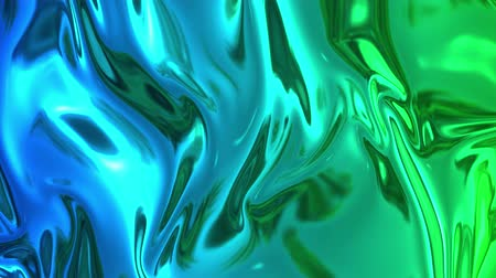 szövetek : Animated blue green metalic gradient in 4k. 3D render of wavy cloth surface that forms ripples like in liquid metal surface or folds in tissue. Abstract foil forms folds in slow motion. 43