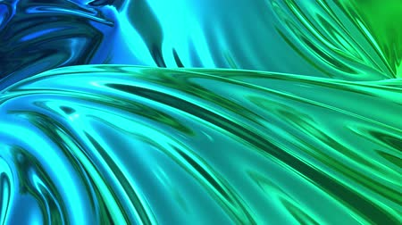 deformação : Animated blue green metalic gradient in 4k. 3D render of wavy cloth surface that forms ripples like in liquid metal surface or folds in tissue. Abstract foil forms folds in slow motion. 50