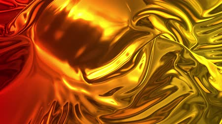 szövetek : Animated metalic gradient in 4k. 3D render of wavy cloth surface that forms ripples like in liquid metal surface or folds in tissue. Red yellow gradient of foil forms folds in slow motion. 17