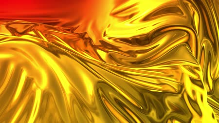 szövetek : Animated metalic gradient in 4k. 3D render of wavy cloth surface that forms ripples like in liquid metal surface or folds in tissue. Red yellow gradient of foil forms folds in slow motion. 18 Stock mozgókép