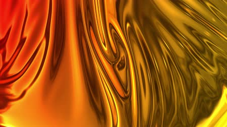 szövetek : Animated metalic gradient in 4k. 3D render of wavy cloth surface that forms ripples like in liquid metal surface or folds in tissue. Red yellow gradient of foil forms folds in slow motion. 21