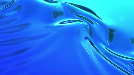 szövetek : abstract background of blue liquid metalic surface with smooth animation. 3D render of wavy cloth surface that forms ripples like in liquid metal surface or folds in tissue. Stock mozgókép
