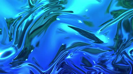 szövetek : abstract background of blue liquid metalic surface with smooth animation. 3D render of wavy cloth surface that forms ripples like in liquid metal surface or folds in tissue. 5 Stock mozgókép