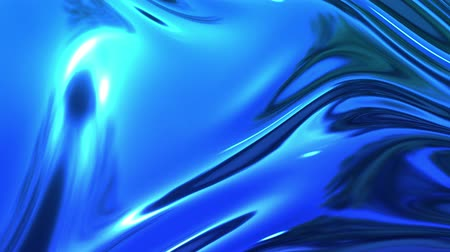szövetek : abstract background of blue liquid metalic surface with smooth animation. 3D render of wavy cloth surface that forms ripples like in liquid metal surface or folds in tissue. 7 Stock mozgókép