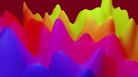 esplêndido : abstract liquid blue red yellow gradients, inner glow surface like landscape. 4k seamless loop animation. Beautiful color gradients as abstract liquid wavy background. 31