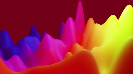 irreal : abstract liquid blue red yellow gradients, inner glow surface like landscape. 4k seamless loop animation. Beautiful color gradients as abstract liquid wavy background. 38