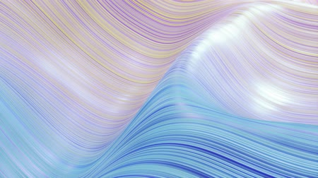 szövetek : Beautiful abstract background of waves on surface, blue yellow color gradients, extruded lines as striped fabric surface with folds or waves on liquid. 4k loop. 2