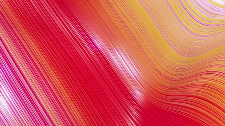 deformação : Beautiful abstract background of waves on surface, red yellow color gradients, extruded lines as striped fabric surface with folds or waves on liquid. 4k loop. 51
