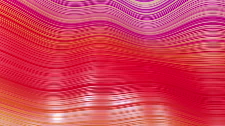 deformação : Beautiful abstract background of waves on surface, red yellow color gradients, extruded lines as striped fabric surface with folds or waves on liquid. 4k loop. 4