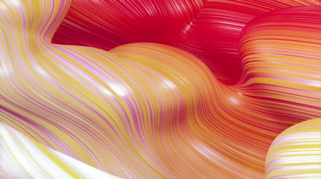 dobras : Beautiful abstract background of waves on surface, red yellow color gradients, extruded lines as striped fabric surface with folds or waves on liquid. 4k loop. 9